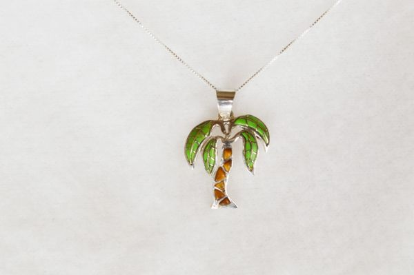 """Sterling silver gaspeite and tiger eye inlay palm tree pendant with sterling silver 18"""" box chain. N097."""