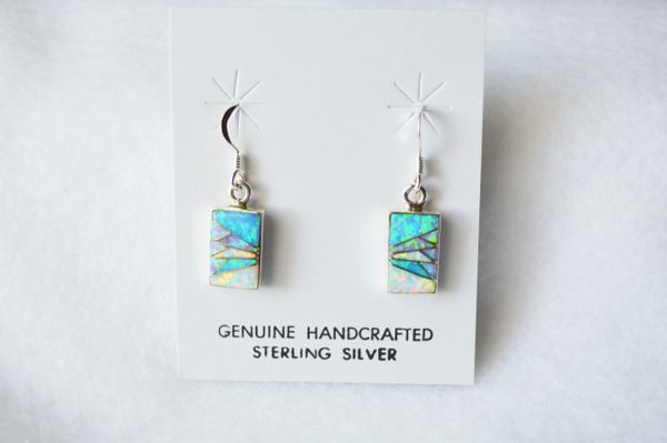 Sterling silver white, blue and pink opal inlay rectangle dangle earrings. E187