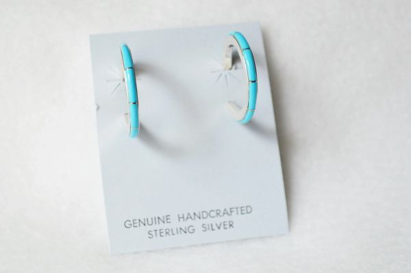 Sterling silver turquoise inlay large/thin hoop post earrings. E291