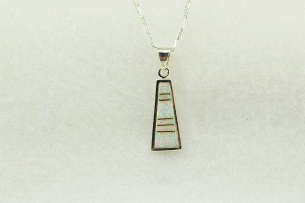 """Sterling silver white opal inlay tall triangle pendant with sterling silver 18"""" figaro chain. N237"""