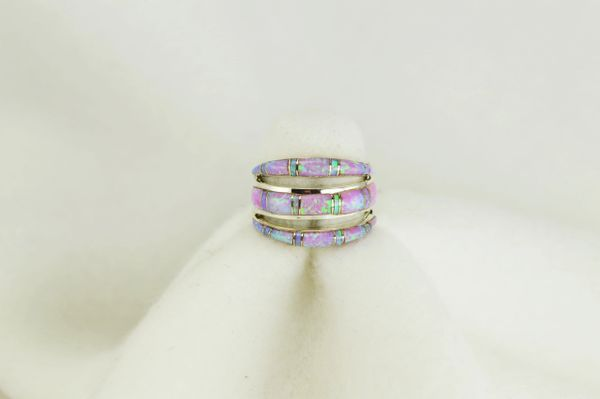 Sterling silver pink opal inlay ring. R004