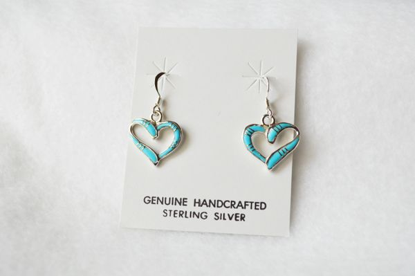 Sterling silver turquoise heart earrings. (E053)