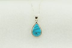 "Sterling silver turquoise inlay teardrop pendant with sterling silver 18"" figaro chain. N202"