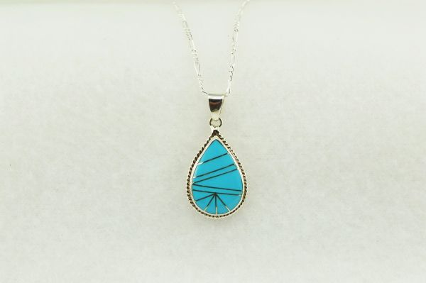 """Sterling silver turquoise inlay teardrop pendant with sterling silver 18"""" figaro chain. N202"""