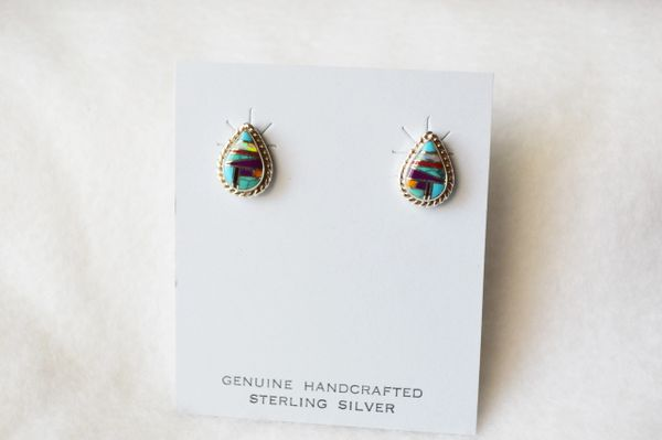 Sterling silver multi color inlay small teardrop post earrings. E174