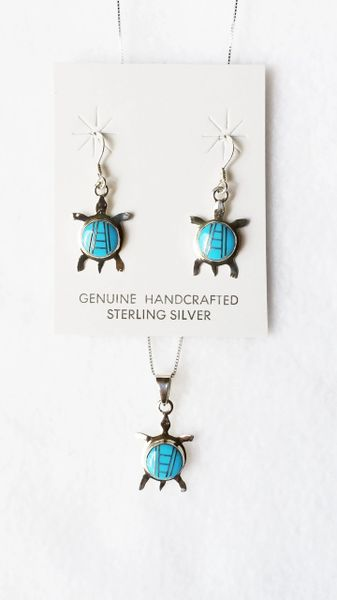 """Sterling silver turquoise inlay turtle dangle earrings and 18"""" sterling silver box chain necklace set. S083"""
