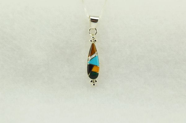 "Sterling silver multi color inlay corn cob shaped pendant with sterling silver 18"" box chain. N271"