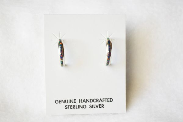 Sterling silver black opal inlay small 1/2 hoop post earrings. E237