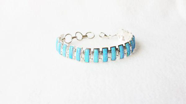 "Sterling silver blue opal 8"" rectangle link bracelet. B010"