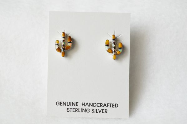 Sterling silver multi colored inlay cactus post earrings. (E025)