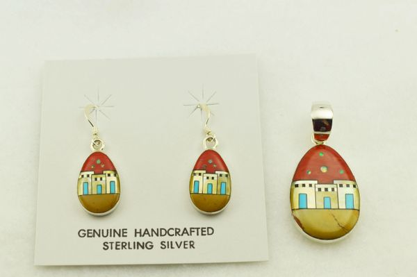 Sterling silver multi color inlay raindrop 3 door adobe earrings and pendant set. S321