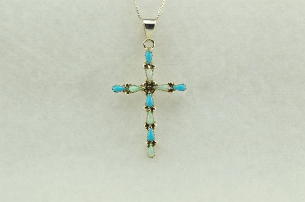 """Sterling silver turquoise and white opal cross pendant with sterling silver 18"""" box chain. N222"""