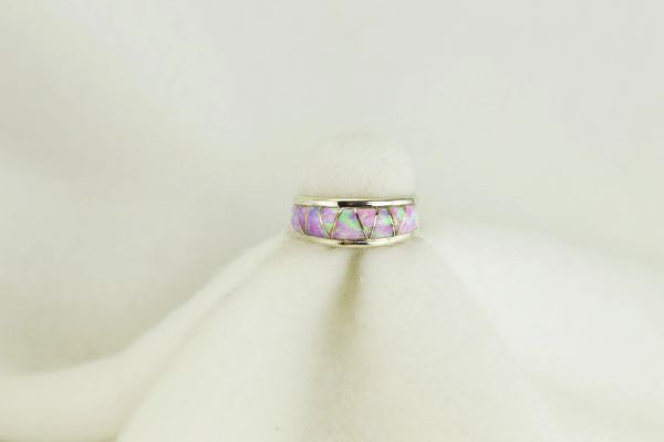 Sterling silver pink opal inlay ring. R094