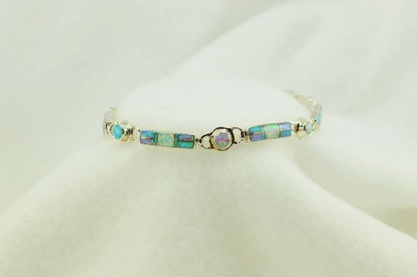 """Sterling silver white, pink and blue opal inlay link 8"""" bracelet. B080"""