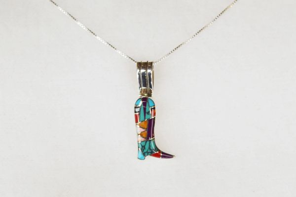 """Sterling silver multi color inlay boot pendant with sterling silver 18"""" box chain. N014"""