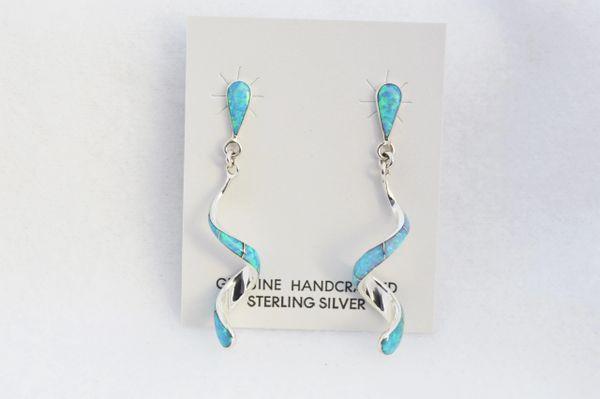 Sterling silver blue opal inlay twisty post earrings. E355