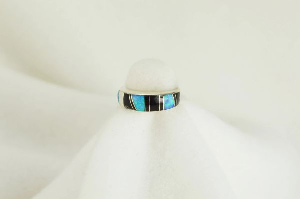 Sterling silver black onyx and blue opal inlay ring. R058