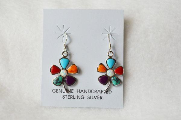 Sterling silver multi color flower dangle earrings. E076