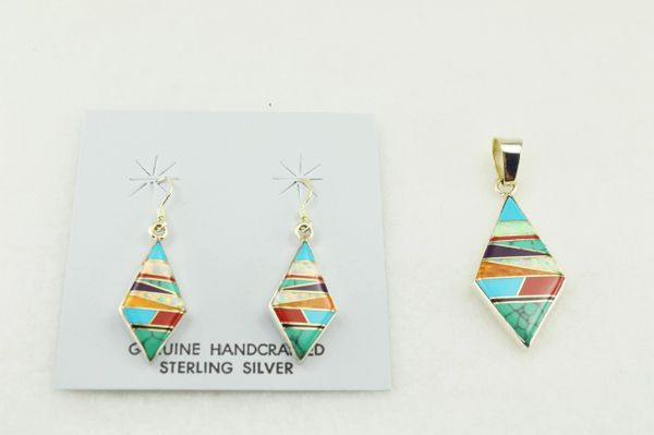 Sterling silver multi color inlay diamond earrings and pendant set. S123
