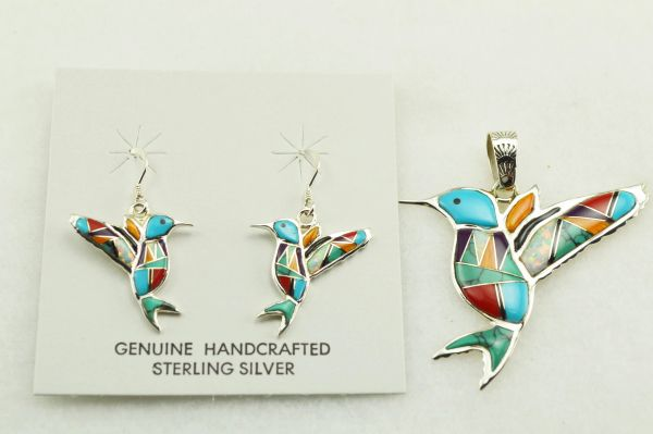 Sterling silver multi color inlay hummingbird earrings and pendant set. S157
