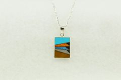 """Sterling silver multi color inlay rectangle pendant with sterling silver 18"""" figaro chain. N152"""