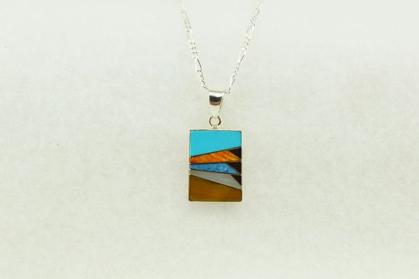 "Sterling silver multi color inlay rectangle pendant with sterling silver 18"" figaro chain. N152"