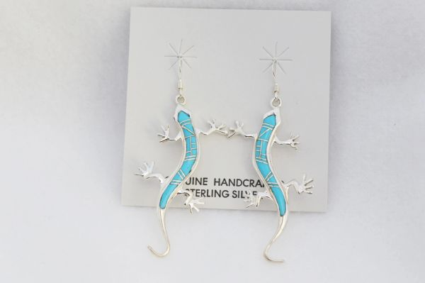 Sterling silver turquoise inlay large lizard dangle earrings. E201