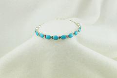 "Sterling silver turquoise oval link 7.5"" bracelet. B039"