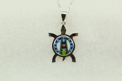 """Sterling silver multi color inlay turtle pendant with sterling silver 18"""" figaro chain. N164"""