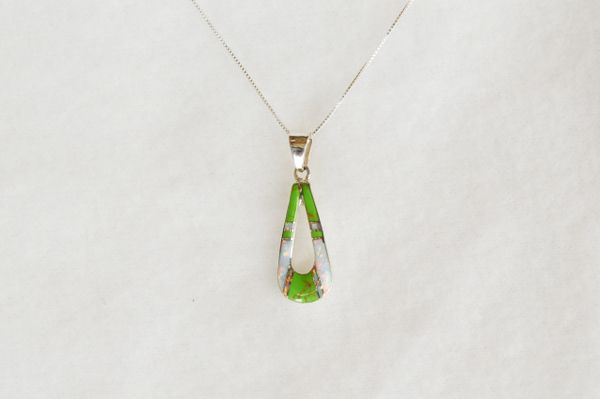 """Sterling silver white opal and gaspeite inlay hollow teardrop pendant with sterling silver 18"""" box chain. N094."""