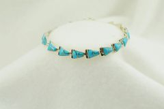 """Sterling silver turquoise inlay link 7.5"""" bracelet. B045"""