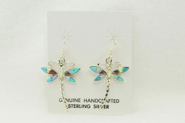 Sterling silver blue, pink, black and white opal inlay dragonfly dangle earrings. E139