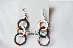 Sterling silver multi color 3 ring dangle earrings. E079
