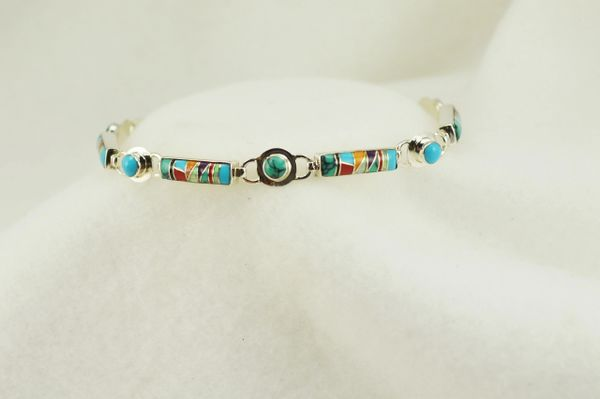 "Sterling silver multi color inlay link 8.25"" bracelet. B101"