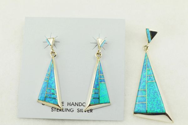 Sterling silver blue opal inlay fancy triangle earrings and pendant set. S261