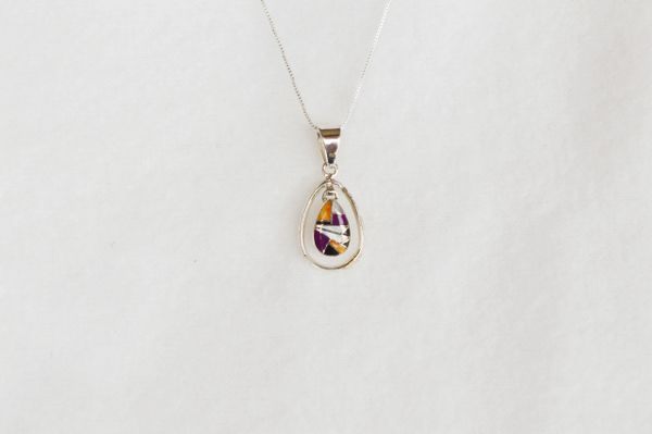 "Sterling silver multi color inlay teardrop in hoop pendant with sterling silver 18"" box chain. N069."