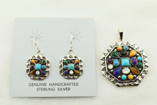 Sterling silver multi color multi shaped earrings and pendant set. S288