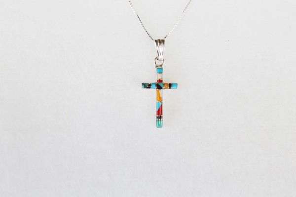 """Sterling silver multi color inlay cross pendant with sterling silver 18"""" box chain. N032"""