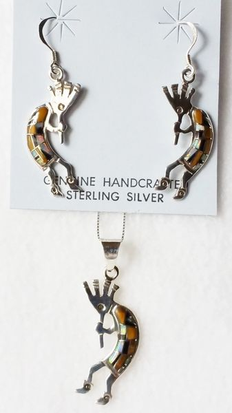 "Sterling silver white opal, tiger eye and black onyx inlay kokopelli dangle earrings and 18"" sterling silver box chain necklace set. S044"
