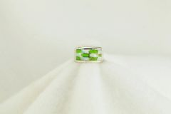Sterling silver gaspeite and white opal inlay ring. R145