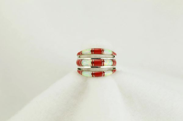 Sterling silver white opal and coral inlay ring. R006