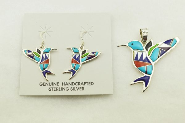 Sterling silver multi color inlay hummingbird earrings and pendant set. S309