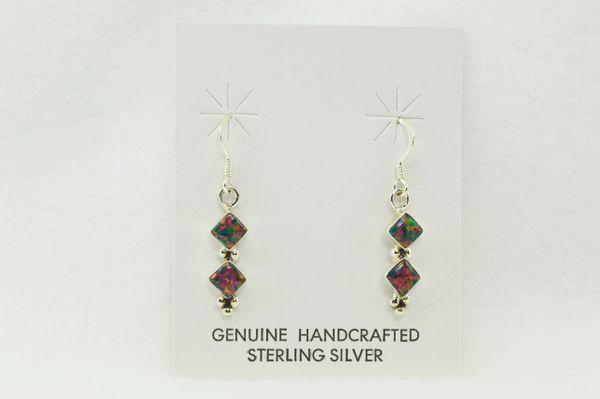 Sterling silver black opal double diamond dangle earrings. E108
