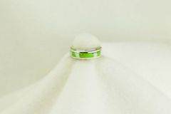 Sterling silver gaspeite and white opal inlay ring. R150