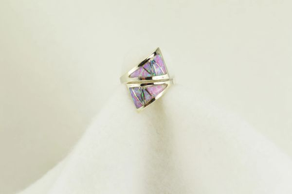 Sterling silver pink opal inlay ring. R096