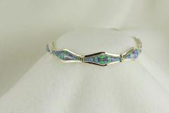 Sterling silver pink opal inlay 7.25 link bracelet. B018