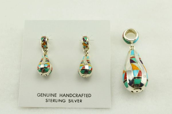 Sterling silver multi color inlay teardrop earrings and pendant set. S127