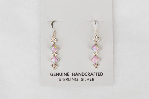 Sterling silver pink opal double diamond dangle earrings. E110