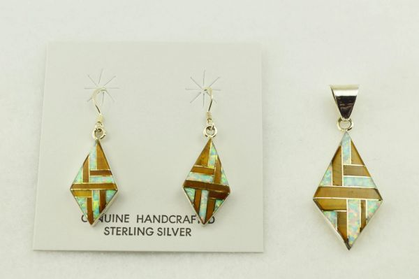 Sterling silver white opal and tiger eye inlay diamond shaped earrings and pendant set. S233