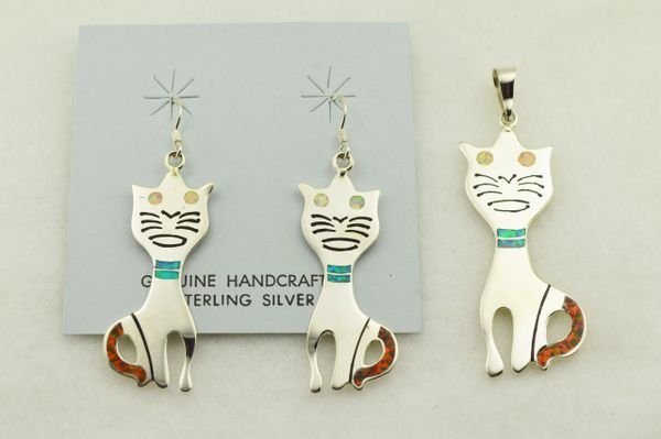 Sterling silver multi color inlay cat earrings and pendant set. S303